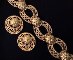 Vintage TRIFARI Etruscan Revival Golden Bracelet and Earrings Set