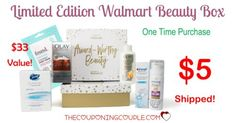 OH BOY! I am loving this! Get the Limited Edition Walmart Beauty Box for only $5.00 shipped! One time purchase! Includes lots of items to try! $33 value.  Click the link below to get all of the details ► http://www.thecouponingcouple.com/limited-edition-walmart-beauty-box/ #Coupons #Couponing #CouponCommunity  Visit us at http://www.thecouponingcouple.com for more great posts!