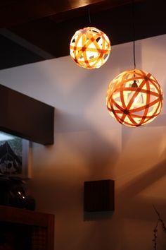 DIY light fixture, made with wood veneer strips