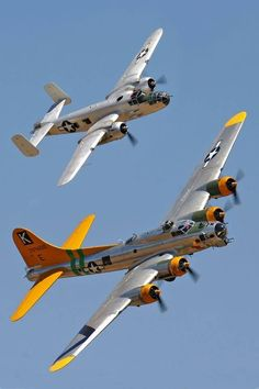 A happy B 17 and a clean B Ww2 Aircraft, Fighter Aircraft, Military Aircraft, Fighter Jets, Air Fighter, B 17, Old Planes, Vintage Airplanes, Jet Plane
