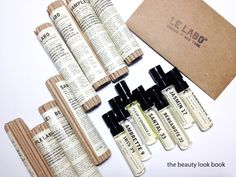 The Beauty Look Book: Le Labo Fragrance Samples Perfume Packaging, Beauty Packaging, Cool Packaging, Brand Packaging, Paper Packaging, Cosmetic Packaging, Fragrance Samples, Perfume Samples, Perfume Oils