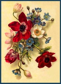 ArtbyJean - Vintage Clip Art: Three gorgeous vintage flower prints - Cleaned up by me.