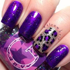 Beautiful purple nail polish with leopard print nail art accent nail. Anyone know what Brand / shade the purple is? ? Please comment below, thanks!