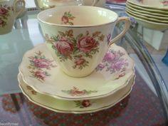 "J & G Meakin ""Delicia"" Antique Tea Cups, Vintage Teacups, Vintage China, China Tea Sets, Tea Strainer, Cup And Saucer, Pink Roses, Tea Time, Tea Party"