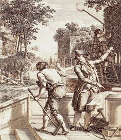 century gardener taking direction from a landscape designer. Note the man pruning the tree. British Architecture, Early American, 18th Century, Illustration, Vintage World Maps, The Past, Landscape, History, Antiques