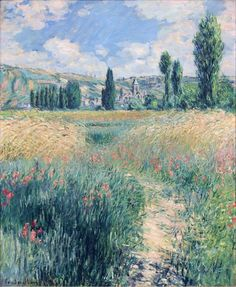 monet claude path on the island of saint martin vetheuil 1881 (from <a… Claude Monet, Post Impressionism, Impressionist Paintings, Landscape Art, Landscape Paintings, Landscapes, Van Gogh Pinturas, Artist Monet, Arte Van Gogh