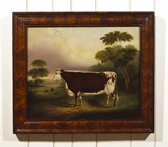 American livestock portraits are scarce and this portrait by T. Van Zandt is truly extraordinary. The prize cow is painted in a Hudson River landscape setting with a sail boat in the distance. Cow Paintings On Canvas, Old Paintings, Animal Paintings, Valley Landscape, Primitive Painting, Art Watch, Cow Art, Country Paintings, Country Art