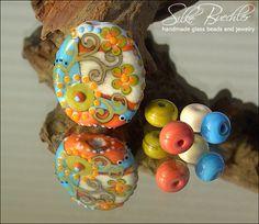5 handmade lampwork beads -- SRA -- glass -- W i n t e r   S o l s t i c e