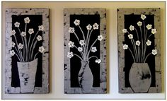Acrylic Black, silver and white heavily textured flower painting by JEMgallery on Etsy