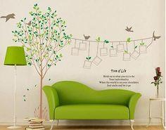 Wandaufkleber WohnzimmerWandtattoo grün Baum Fotorahmen Kunst Vogel  230X170CM