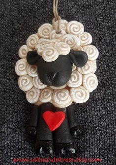 Ewe Loving Sheep  Salt Dough Ornament   Painted by SaltySculptress $15 Gift for Knitters and Crocheters