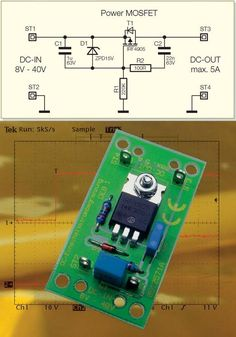 5 Amps Current Regulator with MOSFET - Electronics Projects Circuits Electronics Projects, Simple Electronics, Electronic Circuit Projects, Electronics Storage, Electrical Projects, Electronics Components, Electronic Engineering, Electrical Engineering, Hobby Electronics