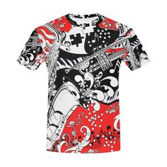 ac2068593 Piano Sax Trumpet T Shirt by Juleez All Over Print T-Shirt for Men (