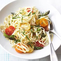 Linguini with Fresh Veggies. Asparagus and tomatoes are cooked with white wine, then tossed with the pasta and basil for this vegetarian main dish.