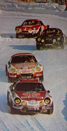 Alpine Dancing on Ice. Vintage Sports Cars, Vintage Racing, Retro Cars, Vintage Cars, Alpine Renault, Renault Sport, Sport Cars, Race Cars, Megane Rs