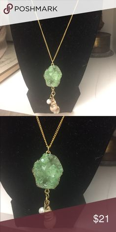 """Gold Chain Green Druzy & Seashell Charm Necklace Approx: 16""""  14K Gold Plate Cable Chain  Seafoam & Gold Plate Druzy Jewelry Necklaces"""