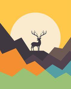 Deer Graphic Hoodie by Andy Westface - Unisex Pullover Black - MEDIUM - Front Print - Pullover Art And Illustration, Hirsch Illustration, Simple Canvas Paintings, Canvas Art, Animal Drawings, Art Drawings, Posca Art, Deer Art, Art Design
