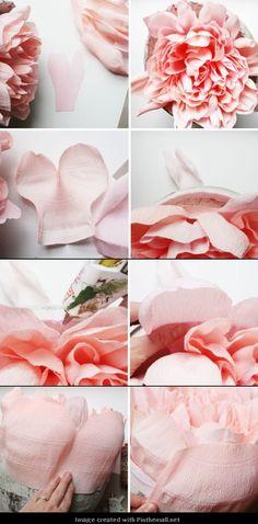 Giant Crepe Paper Peony---Part 7 of 10---written directions on post---http://bloggingcornerblog.blogspot.com/2013/07/giant-paper-peony-pinatas.html