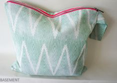 large green white  wristlet beach bag with neon pink and silver zipper Wet Bag, Fashion Fabric, Mini Bag, Etsy Seller, Neon, Zipper, Beach, Pink, Tops