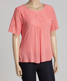 Look what I found on #zulily! Coral Lace Top - Plus #zulilyfinds