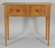 """Southern Huntboard. Yellow Pine. Consiting of Two Drawers. Georgia (Attributed). Circa 1830-1840. 44-7/8"""" x 53"""" x 21-1/8""""."""