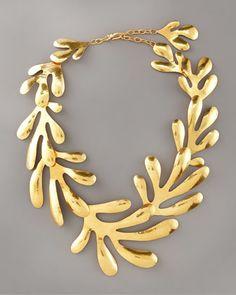 "Herve Van Der Straeten  Coral Bib Necklace, 15""L"