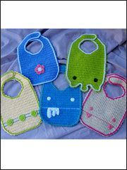 """Technique - Crochet Includes patterns for five fun and quirky baby bibs. Finsihed bibs are about 7 1/2 x 11"""". Crochet in worsted weight cotton yarn. Skill Level: Intermediate $4.99"""