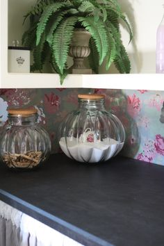 Glass containers and a tea cup, as a scoop, from #Goodwill make the perfect display for powered laundry detergent.  #thrift #decor #interior #repurpose