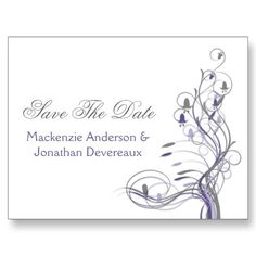 Purple Lavender Gray Floral Swirls Save The Date by dmboyce