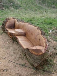 Log couch, doing this for the fire pit/patio I'm gonna build.  Still would need treating/insect proofing etc
