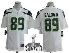 Nike Seattle Seahawks 89 Doug Baldwin White Game 2014 Super Bowl XLVIII NFL Jerseys