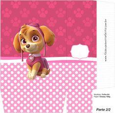 Skye of Paw Patrol: Free Printable Boxes. Sky Paw Patrol, Paw Patrol Party, Printable Box, Free Printables, Paw Patrol Birthday Theme, Cumple Paw Patrol, Girl Birthday, Teddy Bear, Kids Rugs