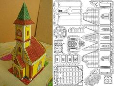 The great Hungarian designer Somodi Zoltan shares with us a new paper model a Hungarian Church. O grande designer húngaro Somodi Zoltan. Mesh Christmas Tree, Christmas Paper, Christmas Home, Christmas Crafts, Christmas Village Houses, Putz Houses, Christmas Villages, Advent House, House Template