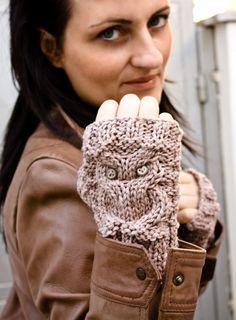 Little owl fingerless gloves in beige by homelab on Etsy, $37.00