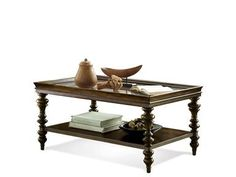 Shop+for+Riverside+Rectangular+Coffee+Table,+19802,+and+other+Living+Room+Tables+at+Priba+Furniture+And+Interiors+in+Greensboro,+NC.+Constructed+Of+Poplar+Solid+And+Walnut+Veneer.+Framed+Tray-Top+Has+An+Etched+Glass+Insert.+Fixed+Bottom+Shelf.