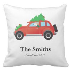 Saluki Driving Christmas Car with Tree on Top Pillow