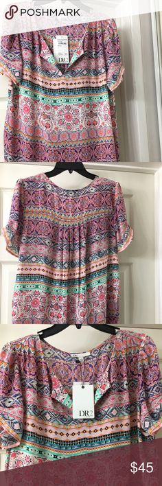 Daniel Rainn; Pink Blouse DR2 by Daniel Rainn; Women's Size: L . Very beautiful blouse. You can  wear as casual or dress it up in Jeans or skirt.  Material: Nylon, Polyester. Condition: New With Tags; Washing-Hand Wash. See close-up picture #3 for the beautiful colors. Danielrainn Tops Blouses