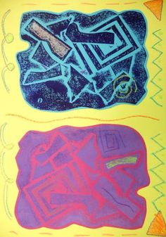 Panther's Palette: 3rd Grade: Collagraphs