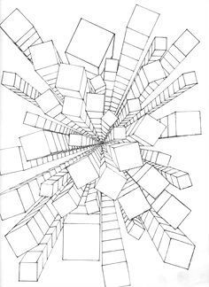 extreme perspective bilding drawing - Google Search