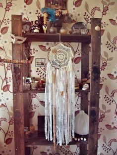 - Made to order! -   Gypsy wall hanging #dreamcatcher with laces, crochet doily,  tassel, sea shell and hand painted gold feather. In off white and creamy colors.   Absolute...