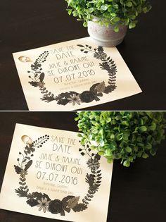 Save the date style bohème ! Vous cherchez une jolie façon d'annoncer la date de votre mariage à vos invités ? Téléchargez-le, remplissez-le et envoyez-le !