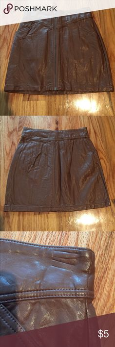 H&M Faux leather mini skirt Brand new never worn. No tags, Small marks from hanger as shown in picture. Zip up skirt H&M Skirts Mini