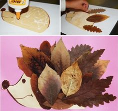 Family Games, Fall Decor, Hedgehog, Activities For Kids, Plant Leaves, Decoration, Creations, Arts And Crafts, Collage