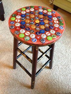 Inspirational Bottle Cap Bar Stool