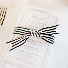 Black and White Menu Card | Ruth Eileen Photography | Theknot.com