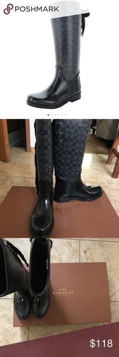 NWT coach trustee outline smoke black boot New in box coach black smoke colored trustee outline signature rubber boot with soft inside. Size 6 Coach Shoes Winter & Rain Boots