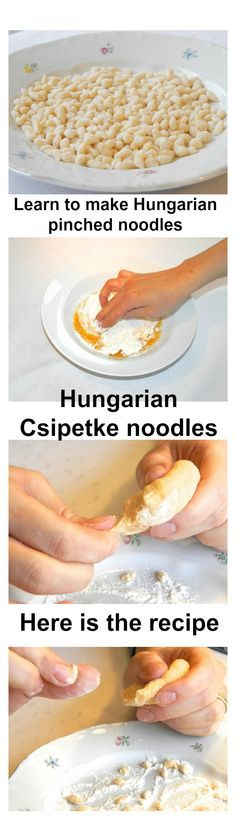 Hungarian csipetke pinched noodles for the goulash soup and Jókai bean soup. Click for the recipe.