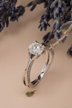 Round Diamond Split Shank Engagement Ring in 14k White Gold