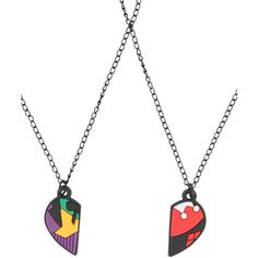DC Comics The Joker & Harley Quinn BFF Necklace Set ($6.37) ❤ liked on Polyvore featuring jewelry, necklaces, multi, heart shaped jewelry, heart shaped necklace, heart necklace, set necklace and heart jewelry