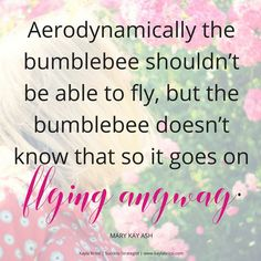 One of my favorite Mary Kay Ash quotes! The bumblebee doesn't know any better and flies anyway.  So powerful! How can you be like a bumblebee today and fly anyway? Comment below let's see what you've got!